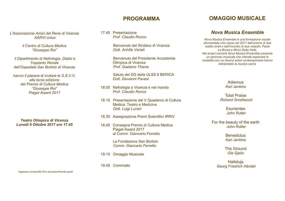 """CONCERTO – III^ EDIZIONE PREMIO DI CULTURA MEDICA """"GIUSEPPE ROI"""""""